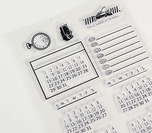 Calendar Time Transparent Silicone Stamps for Spiral Paper Bullet Journals Pop Ups Memo Pad to Do Check List Memo Pad Notepad Remark Issue Planner Notebook Spot Mention Letter Favorite Record