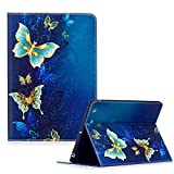 Apple iPad 2 Case,iPad 3 Case,iPad 4 Case,Funyye Beautiful New 3D Pattern Premium PU Leather with Magnetic Clouse Flip Folio Book Stand Case for Apple iPad2 / iPad3 / iPad4-Blue Butterflies