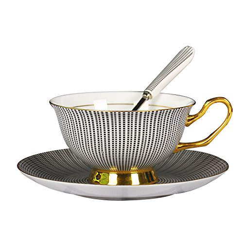 (Yosou Home Bone China Custom Unique Pin-stripe Coffee Mug&Tea Cup and Saucer with Spoon Set-for coffee tea milk-Gifts for Couple, Friend,Mother's Day and Father's Day -Black and White)