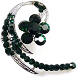 Brooches Store Emerald Green Crystal and Silver Swirl Flower Brooch