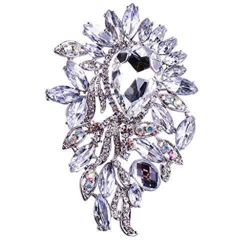 MagiDeal Sparkly Big Waterdrop Fully-Jewelled Rhinestone Brooch Pin Jewelry White - White