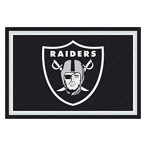 FANMATS NFL Oakland Raiders Nylon Face 5X8 Plush Rug ()