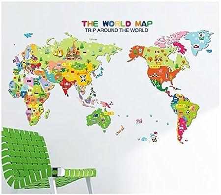 Ferris Store Cartoon Cute Animals THE WORLD MAP Baby Children Kids - Cute world map wallpaper