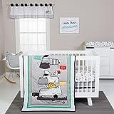 Trend Lab Hello 4 Piece Crib Bedding Set, Yellow, Gray and White