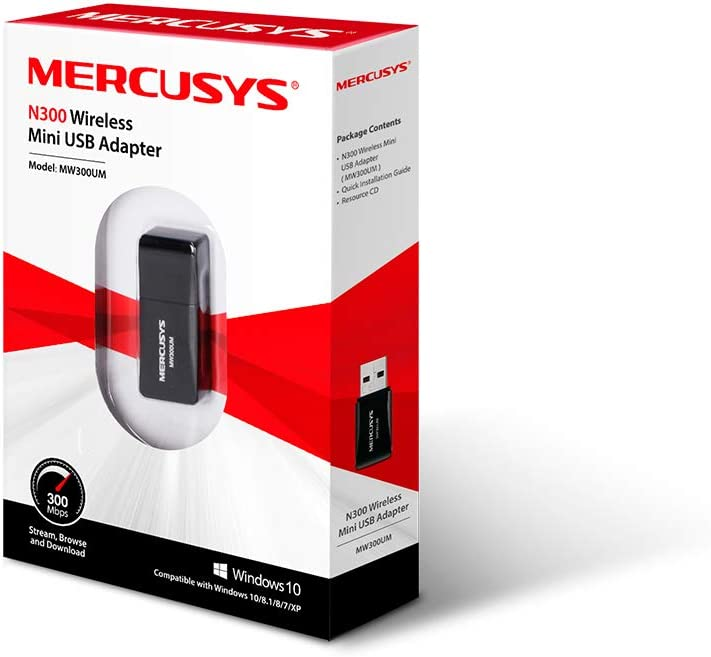 MERCUSYS MW300UH N300 Wireless High Gain USB Adapter