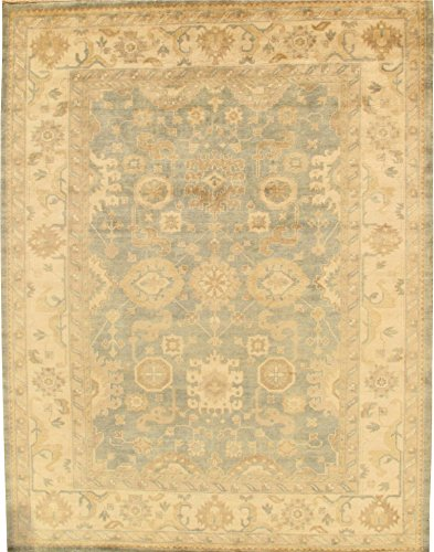 Opulence 9 Light (Pasargad Carpets PS-2 9X12 l.blu/ivo Oushak Collection Hand Knotted Wool Area Rug, 9' x 12', Light Blue)