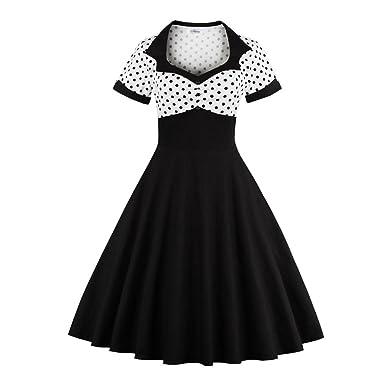 Juleya Frauen Vintage 50er Jahre 60er Jahre A-Linie Plissee Polka Dot Kleid  Hohe Taille 09ab2f11c0