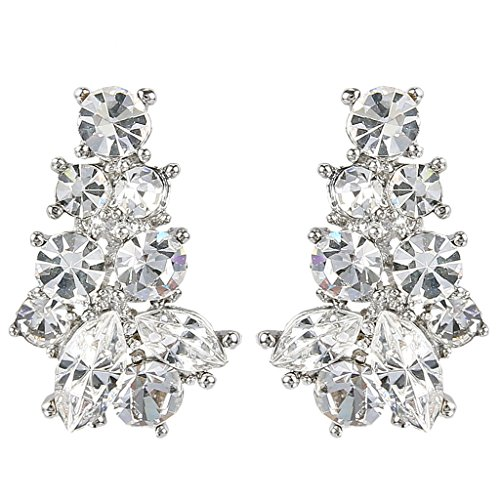 (EVER FAITH Silver-Tone Austrian Crystal Wedding Art Deco Cluster Pierced Stud Earrings Clear)