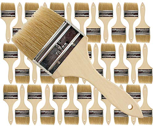 36 Pk- 3 inch Chip Paint Brushes for Paint, Stains,Varnishes,Glues,Gesso