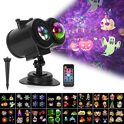 Halloween Light Displays 2019 (Ocean Wave Christmas Projector Lights, Remote Control 2-in-1 Moving Patterns W/Water Wave LED Landscape Holiday Night Lights Waterproof Outdoor Indoor Xmas Party Yard Garden Decorations, 16)