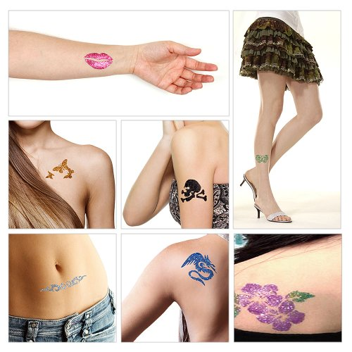 BMC 12pc Party Fun Temporary Fashionable Multi-Color Glitter Shimmer Tattoo Body Art Design Kit with Stencils, Glue and Brushes by b.m.c (Image #5)