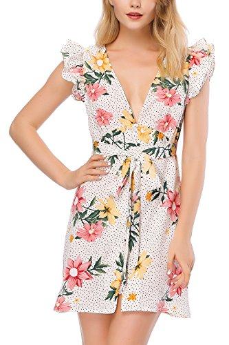 Incolacolle Bouton Mousseline De Soie V-cou Robe Florale Des Femmes En Robe Avec Mancherons Blanc 1