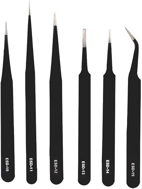 CoWalkers pinzas de precision - Pinzas puntiagudas Pinzas anti-magnéticas antiácidas Pinzas de acero inoxidable para trabajos de laboratorio Electró