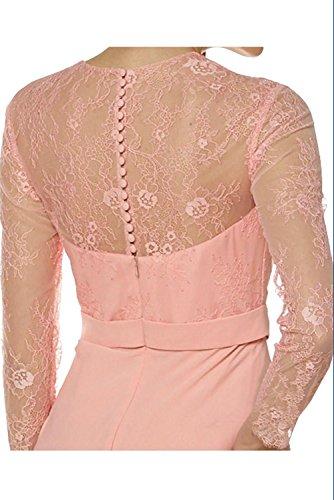 Blau Lang V Festlichkleider Etui Charmant Damen Royal ausschnitt Brautmutterkleider Abendkleider Partykleider Spitze Pqw5E7U