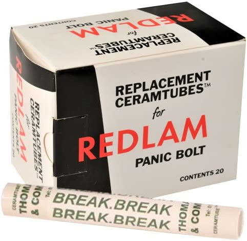 Box of 5 replacement Glass Tubes for use with Redlam Panic Bolt