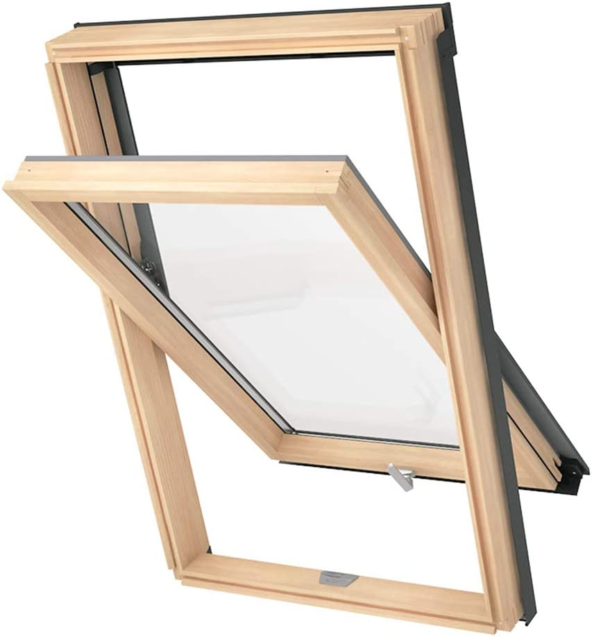 55 x 98 cm Solstro DPX B500 Slim Frame Roof Window C4A Pine Wood and Tile Flashing Bundle