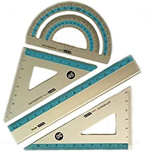 Amazon.com : Aluminum Ruler Mathematic Geometry Set, 4