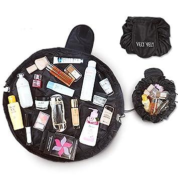 90b0dc95c0b7 Amazon.com   Women Drawstring Cosmetic Bag Fashion Travel Makeup Bag  Organizer Make Up Case Storage Pouch Toiletry Beauty Kit Box Wash Bag  Fusheng   Beauty