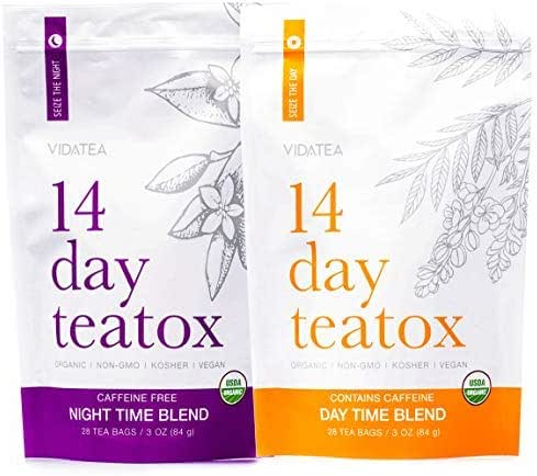 Vida Tea 14 Day and Night Organic Detox Tea - All Natural Healthy Herbal Tea Supplement for a Colon Cleanse, Liver, and Stomach Digestion, Weight Loss, and Energy -28 Servings