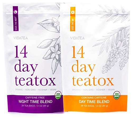 Vida Tea 14 Day and Night Organic Detox Tea - All Natural Healthy Herbal Tea Supplement for a Colon Cleanse, Liver, and Stomach Digestion, Weight Loss, and Energy -28 Servings (Green Tea Lemon Honey Cinnamon Weight Loss)