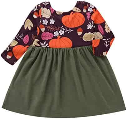 Toddler Baby Girls Clothes Sets for 6 Months-3T Clearance,Long Sleeve Onesies Halloween Pumpkin Print Stitching Dress Outfit
