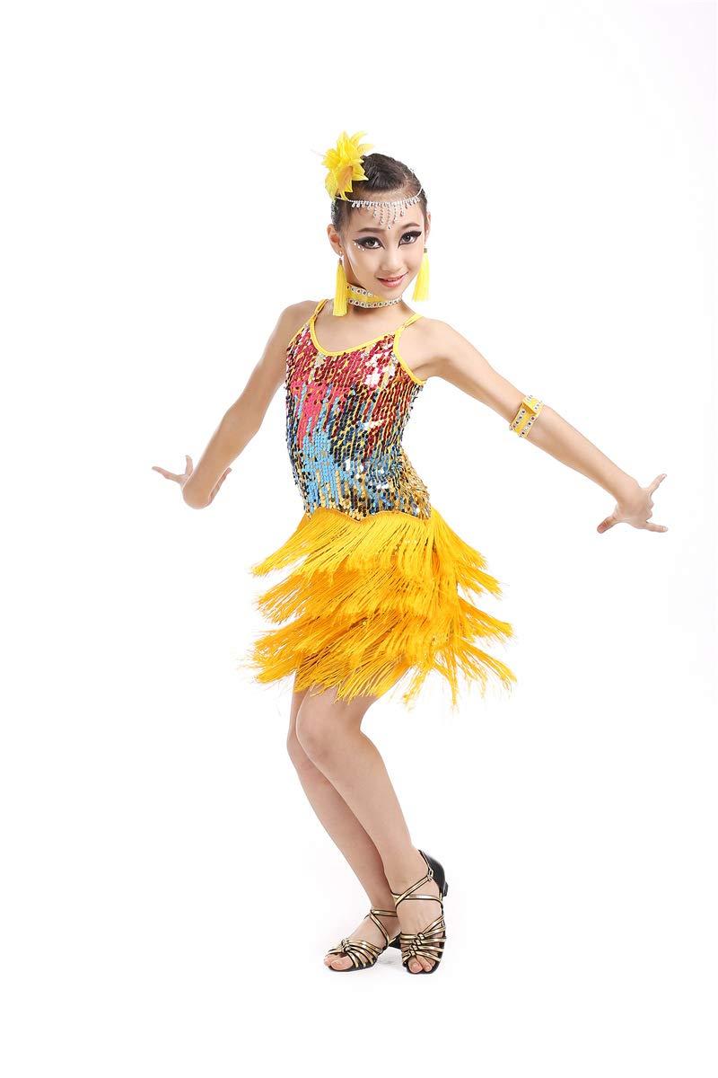 Kids Ballroom Dancing Dress Sequins Tassels Sling Sleeveless for Tango Salsa Costume Jonact Girls Latin Dress