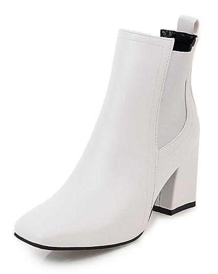 3df306c76ef Aisun Femme Mode Talon Bloc Moyen Bout Carré Low Boots Bottines Blanc 32