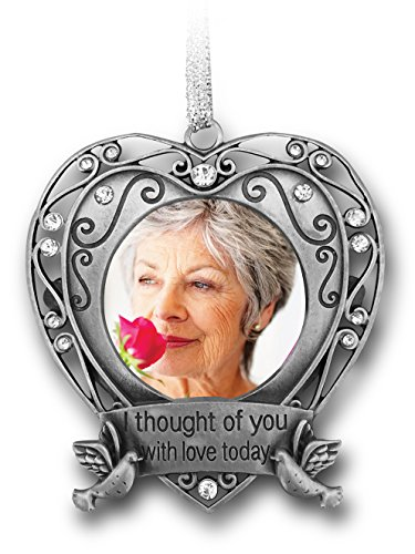 Memorial Christmas Ornament - I Thought of You with Love Today Photo Ornament - Silver Filigree Metal and Jewels with a Picture Opening Tree Shaped Pewter Ornament