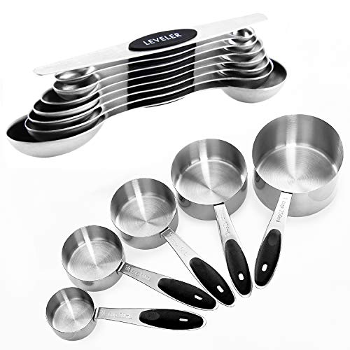 Warmheart Measuring Cups and Magnetic Measuring Spoons Set, Stainless Steel 5 Cups and 7 Spoons and 1 Levele (13…