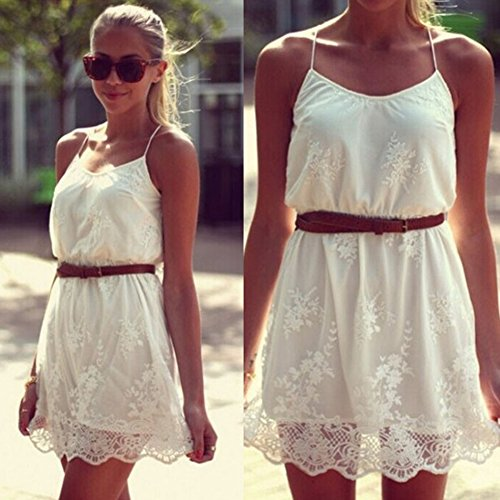 LOBZON Damen Cocktail Kleid weiß weiß
