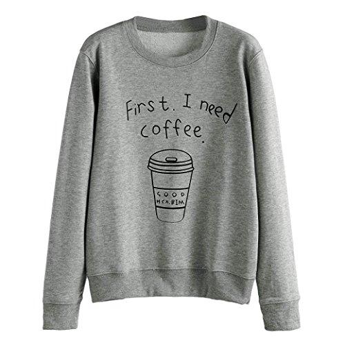Malltop Women Blouse, long Sleeve Letter Printed O-Neck Loose Sweatshirt Pullovers