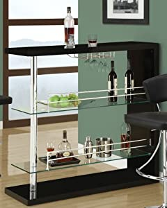 Amazon Com Coaster Bar Table With Two Glass Shelves In
