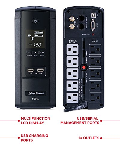 CyberPower BRG850AVRLCD Intelligent LCD UPS System, 850VA/510W, 10 Outlets, AVR, Mini-Tower, 5-Year Warranty by CyberPower (Image #1)