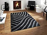 All New Contemporary Solid Colored Silky Touch Two Tone 3D Shag Rugs by Rug Deal Plus (5' x 7', Black/Grey)