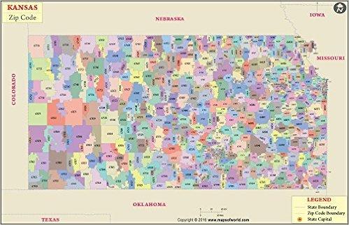 Kansas Zip Code Map - Laminated (36