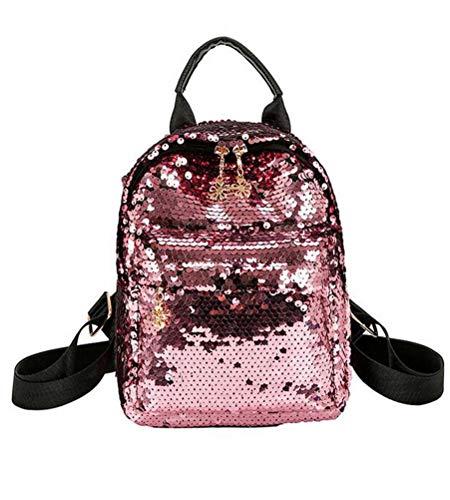Daypack PU Waterproof Casual Women's Rivets Bag Leather Backpack Santwo pink B Mini Shoulder Rqz68w6In
