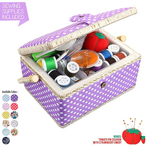 Large Sewing Basket with Accessories Sewing Kit Storage and Organizer with Complete Sewing Tools - Wooden Sewing Box with Removable Tray and Tomato Pincushion for Sewing Mending - Purple