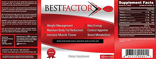 Best Factor Max Weight Loss Pills for Women & Men (60 Softgels) – Thermogenic Fat Burner & Appetite Suppressant – Fast Metabolism Diet Pills & Weight Loss Supplements for Energy and Building Muscle