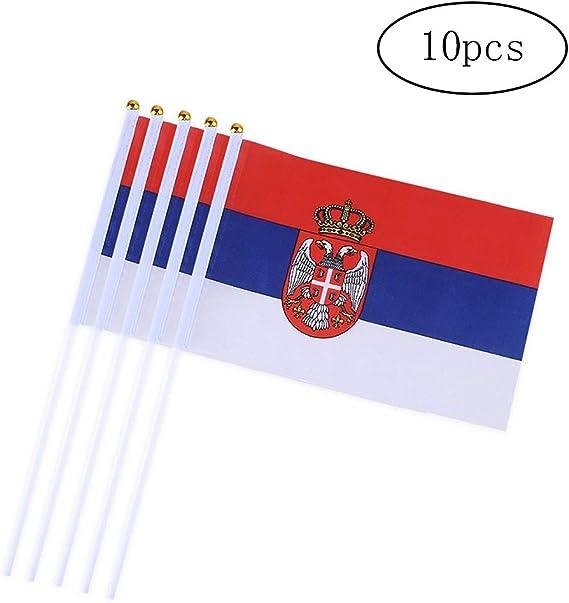 Banderas Bandera 10PCS Mini mano Serbia palo de la bandera ...