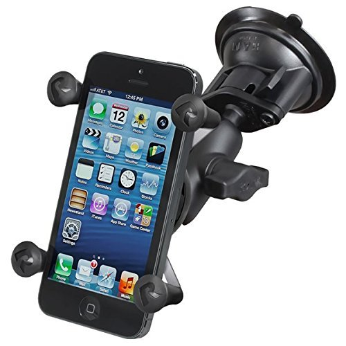 RAM MOUNTS (RAM-B-166-A-UN7U Twist Lock Suction Cup with Short Double Socket Arm and Universal X-Grip Cell/iPhone Holder