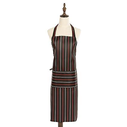 Oilproof PVC Chef delantales, Negro y Rojo Color rayas apto para cortar, cocinar,