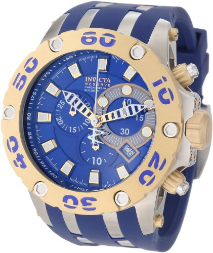 Men's 0 Subaqua Reserve Chronograph Blue Dial Blue Polyurethane Watch - Invicta 909
