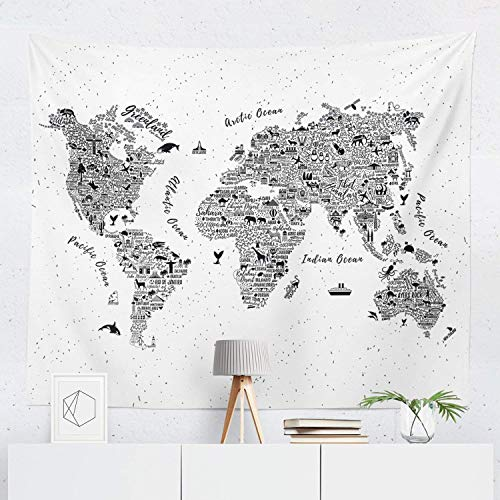 World Map Tapestry Wall Hanging Maps Global Globe Tapestries Dorm Room Bedroom Decor Art - Printed in the USA - Small to Giant Sizes