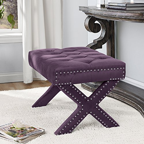 Inspired Home Louis Velvet Button Tufted Silver Nail-Head Trim X-Leg Ottoman, Plum (Accent Chair Plum)