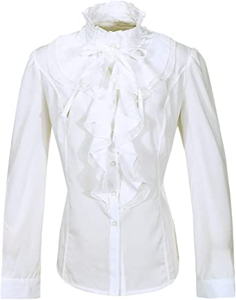 Nanxson Mujer Manga Larga Blusa con Volantes Botón Victoriano Vintage Camisa Top CSW0033