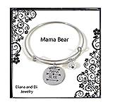 Mama Bear Message Charm Expandable Wire Bracelet Bangle Women Girls Gift Summer Jewelry- Mama Bear Adjustable Bracelet Gift for Mom Mum Inay Ibu Mommy Mama Grandma Nana Nanay Madre-Family Jewelry Gift
