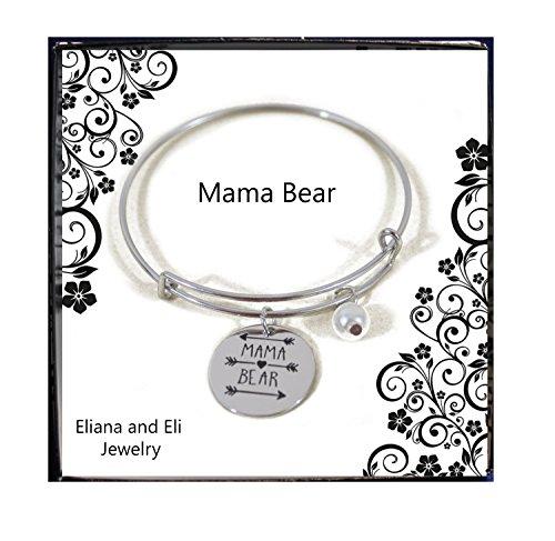 arm Expandable Wire Bracelet Bangle Women Girls Gift Summer Jewelry- Mama Bear Adjustable Bracelet Gift for Mom Mum Inay Ibu Mommy Mama Grandma Nana Nanay Madre-Family Jewelry Gift ()