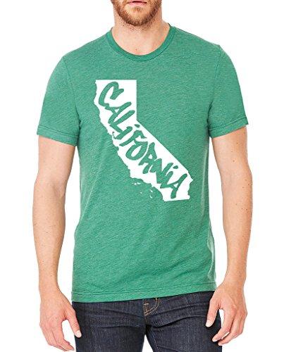Men's California Graffiti State Map Green Tri Blend T-Shirt C2 2X-Large Green