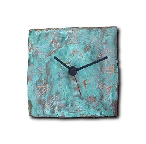 Small Copper Wall Clock 6-inch - Square Turquoise Decorative Rustic Metal Original - Silent Non Ticking Quartz for Home