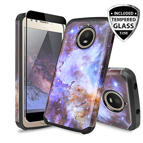 TJS Moto E4 Plus Case, [Full Coverage Tempered Glass Screen Protector] Dual Layer Hybrid Shockproof Drop Protection Impact Rugged Marble Case Armor Cover Compatible Motorola Moto E4 Plus (Stardust)